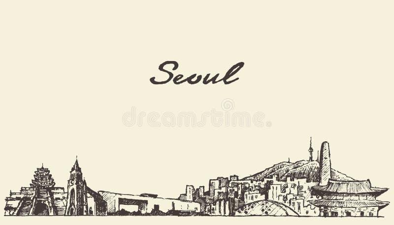 Skizze des Seoul-Skyline Südkorea-Illustrationsabgehobenen betrages lizenzfreie abbildung