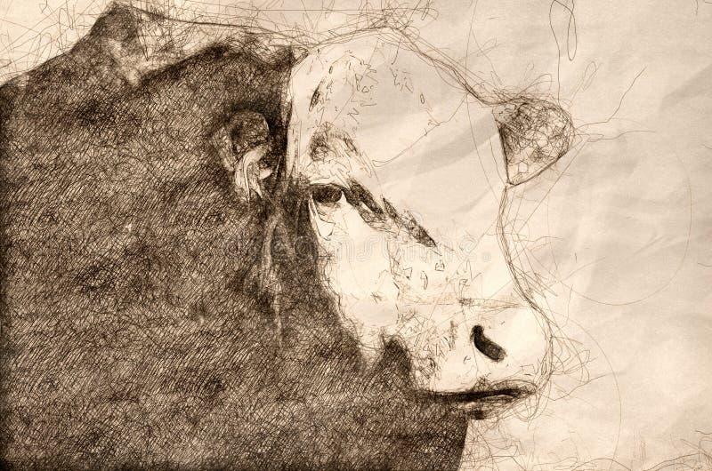 Skizze des Stiers und des bösen Blicks stock abbildung