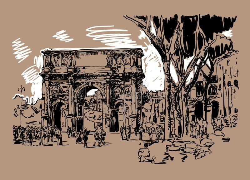 Skizze digitaler Sepia, der Markstein Roms Italien zeichnet stock abbildung