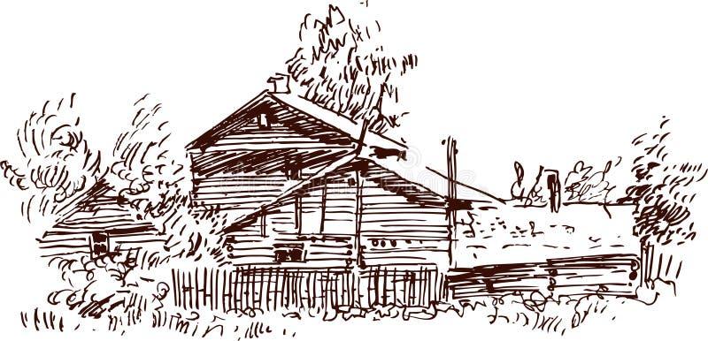Skizze eines Dorfhauses lizenzfreie abbildung