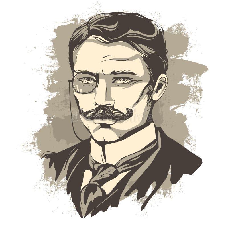 Skizze eines gelehrten Mannes mit einem Schnurrbart und einem Pince-nez stock abbildung