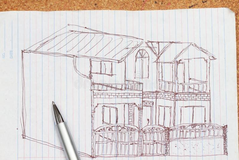 Skizze eines Hauses lizenzfreie stockfotos