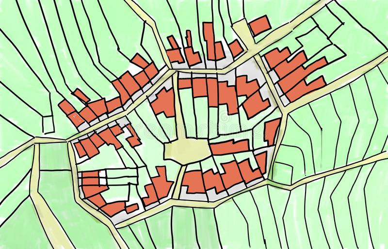 Skizze eines inneren Teils eines Dorfs lizenzfreie abbildung