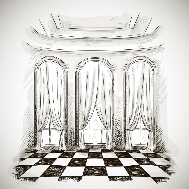 Skizze eines klassischen Wohnzimmerballsaals stock abbildung