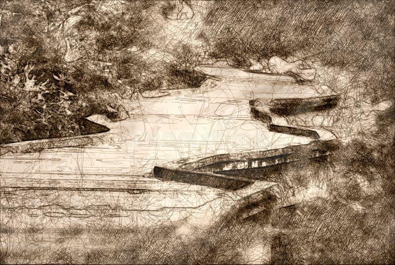 Skizze eines langen Gehwegs heraus ausgedehnt vor Ihnen stock abbildung