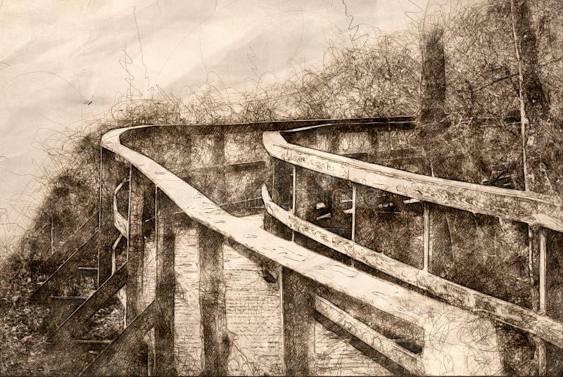 Skizze eines langen Gehwegs heraus ausgedehnt vor Ihnen lizenzfreie abbildung