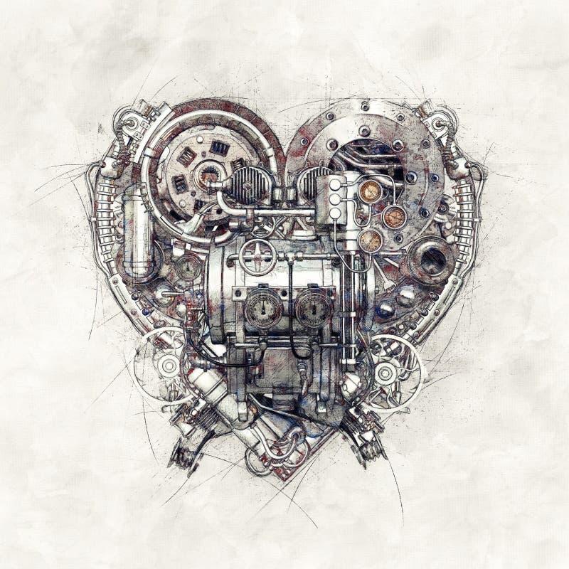Skizze eines mechanischen Herzens, Illustration 3D lizenzfreie abbildung