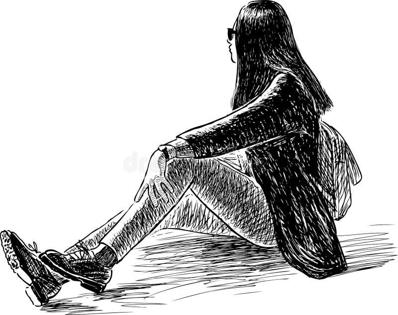 Skizze eines touristischen Mädchens, das auf dem Rasen in einem Stadtpark sitzt stock abbildung
