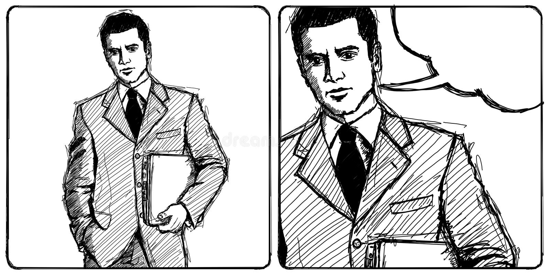 Skizze-Geschäftsmann mit Laptop vektor abbildung