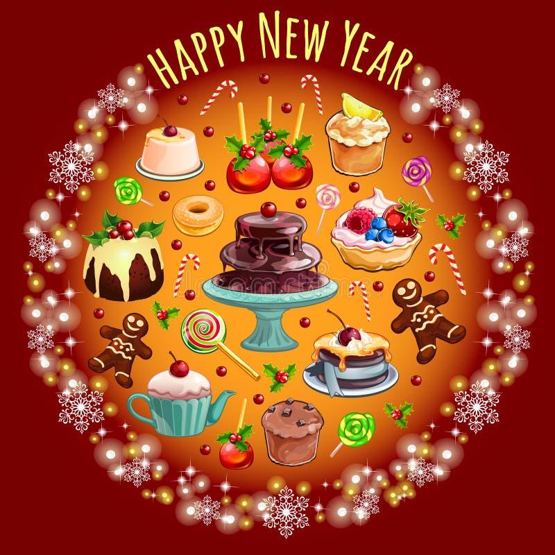 Skizze mit Überfluss an den Bonbons und am Gebäck mit Weihnachtsdekorationen Probe der runden Form des Plakats, Einladung stock abbildung