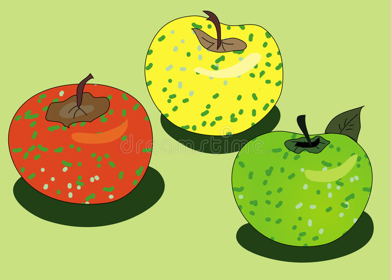 Skizze mit drei Äpfeln stock abbildung