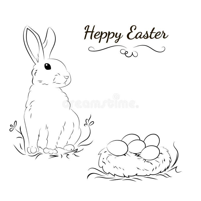 Skizze mit einem Kaninchen und einem Nest mit Ostereiern vektor abbildung
