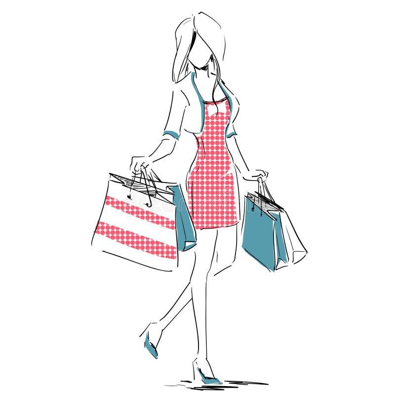 Skizze Mit Elegantem Mädchen Mit Einkaufstaschen Vektor Abbildung ...