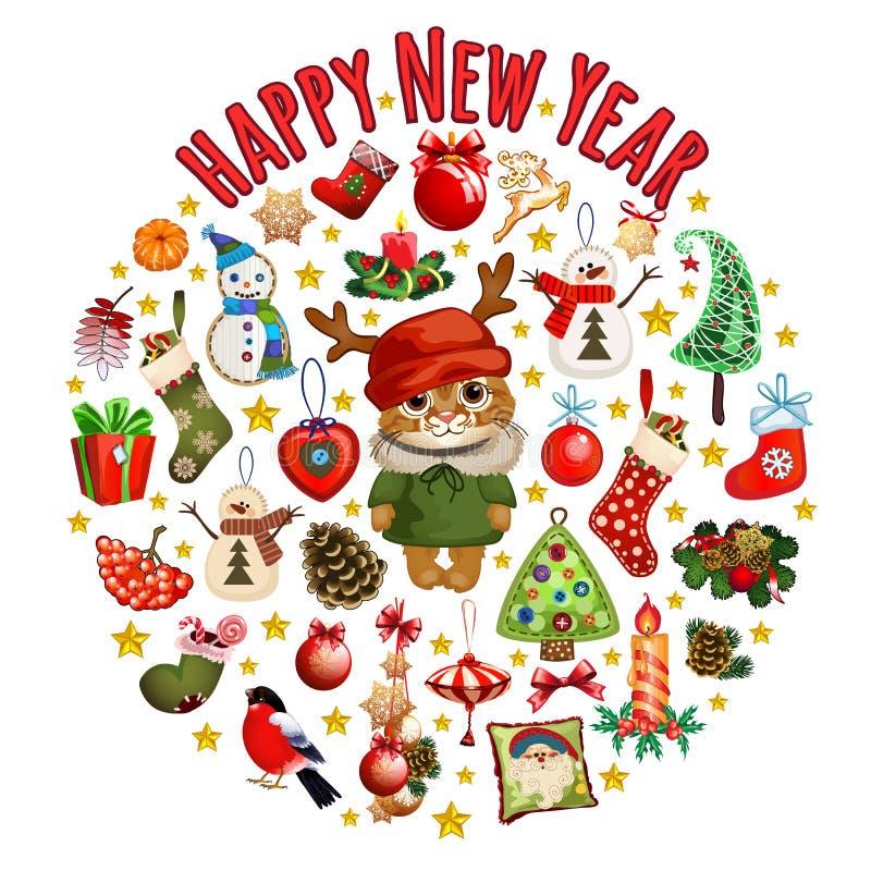 Skizze mit netter Katze in einem roten Hut mit Hörnern mit klassischen Weihnachtsdekorationen Probe des Plakats, Einladung und stock abbildung