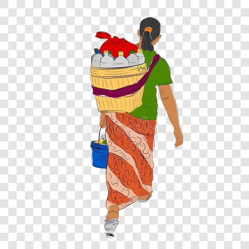 Skizze und flache Farbe des Gehens Jamu-Verkäufer-Frauen-Indonesien-des traditionellen Kräuter-/organischen Getränks, Ansicht von vektor abbildung