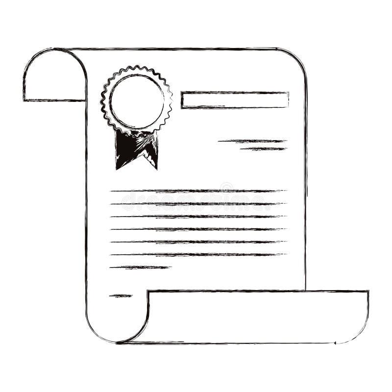 Skizze unscharfe Schattenbildbildzertifikat-Dokumentenpapierseite mit Stempel lizenzfreie abbildung