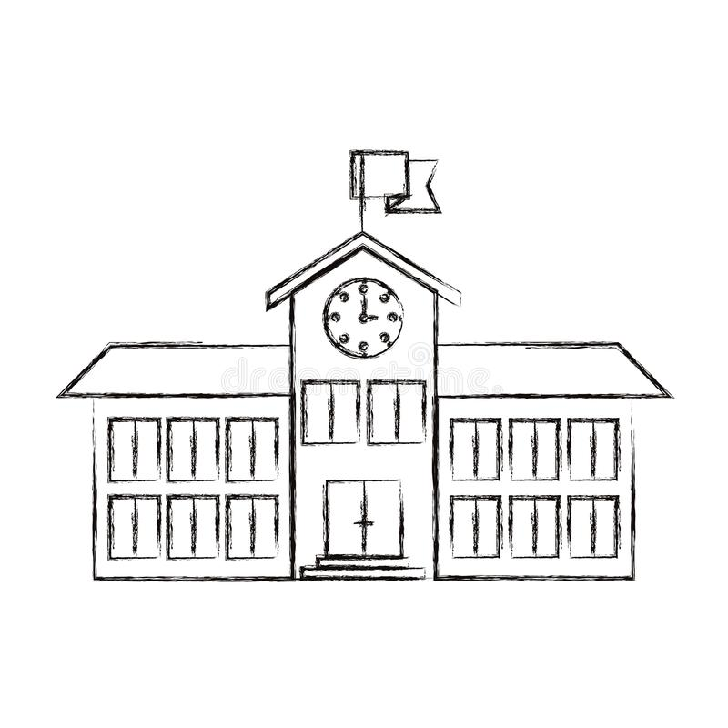 Skizze unscharfe Struktur High School des Schattenbildbildes mit Uhr und Flagge lizenzfreie abbildung