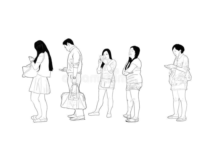 Skizze von den Leuten, die in Reihe warten stockbilder
