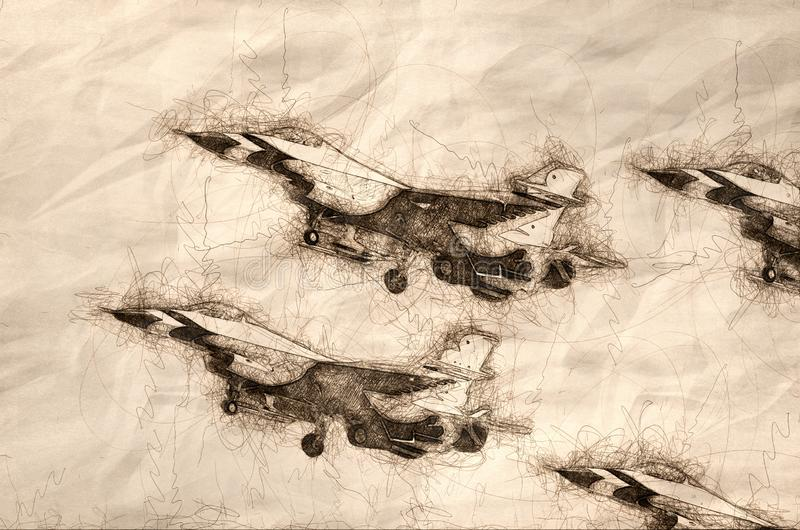Skizze von, die vier Militärkampfflugzeugen fliegen in feste Bildung ist vektor abbildung