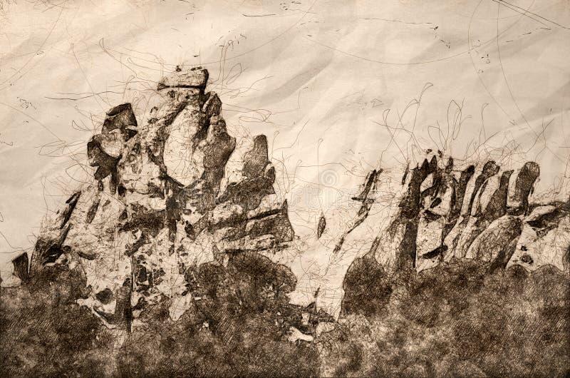 Skizze von Granit-Bildungen in der Stadt des Rocks stock abbildung