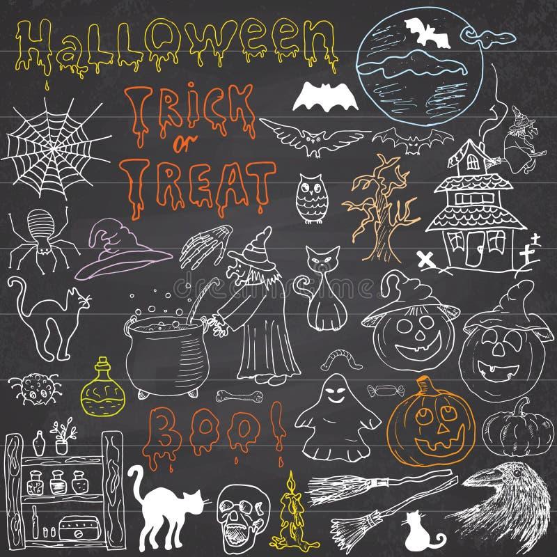Skizze von Halloween-Gestaltungselementen mit punpkin, Hexe, schwarze Katze, Geist, Schädel, Schläger, Spinnen mit Netz Gekritzel stock abbildung
