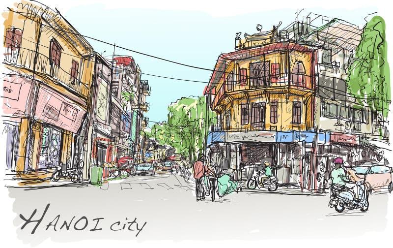 Skizze von Hanoi-Stadtstraßenmarkt und von Altbau, Showleute lizenzfreie abbildung
