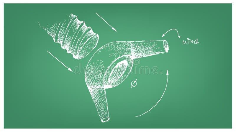 Skizze von Wing Nut und von Schraube am Plan vektor abbildung