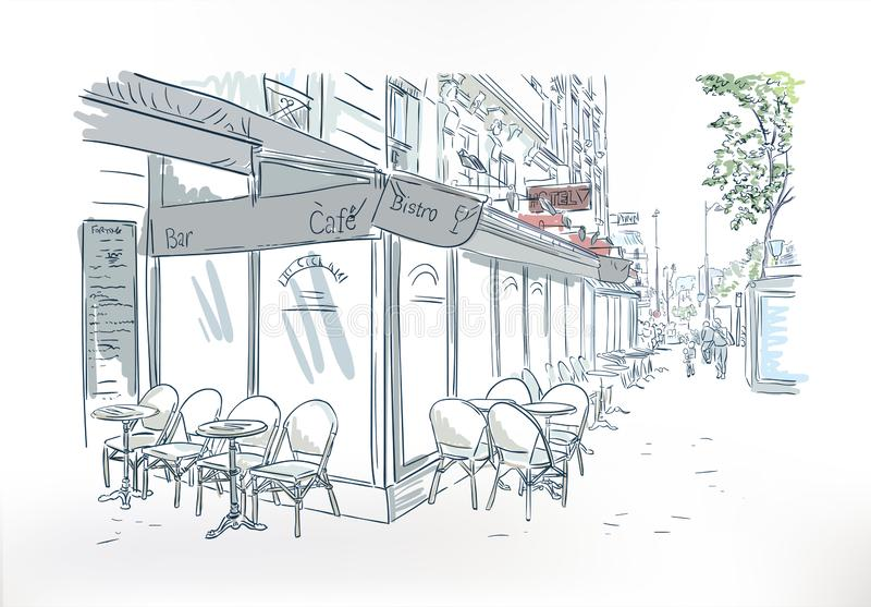 Skizzen-Aquarellkunst Paris-Cafés im Freien vektor abbildung