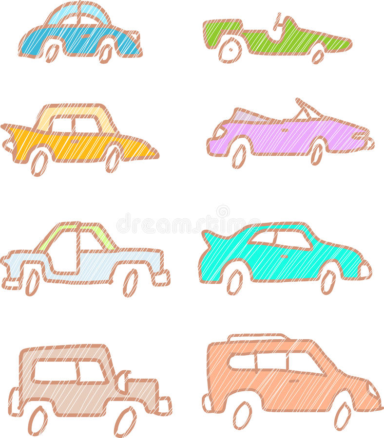 Skizzen-Autos stock abbildung. Illustration von kunst - 33447361