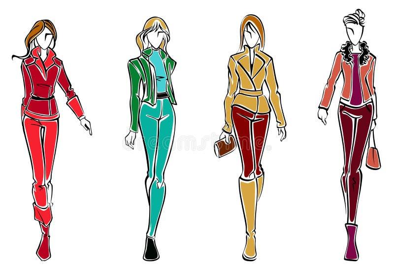 Skizzen der Mode-Modelle vektor abbildung