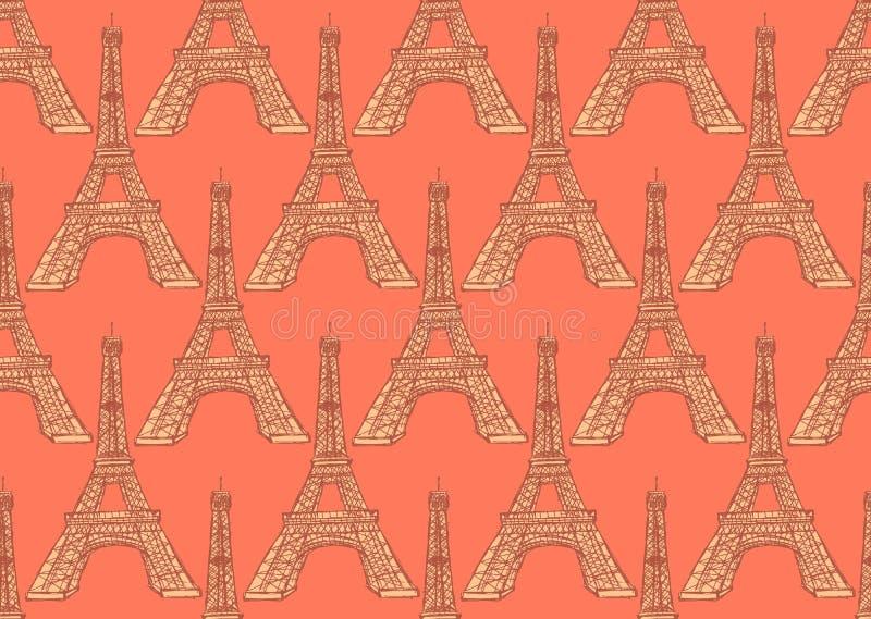 Skizzen-Eiffelturm, vector nahtloses Muster vektor abbildung