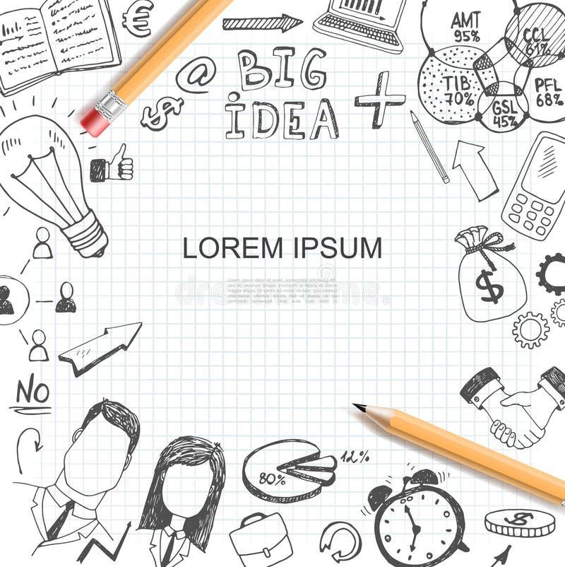 Skizzen-Geschäfts-Ideen-Element-Schablone stock abbildung