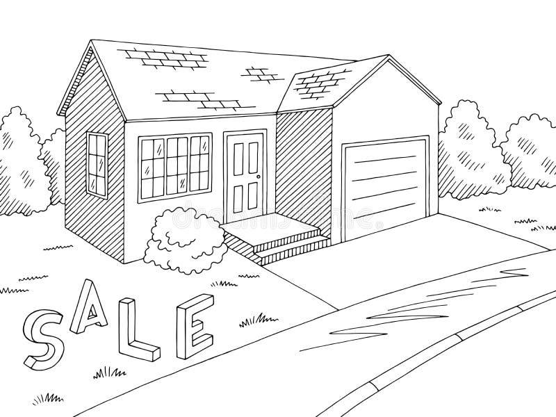 Skizzen-Illustrationsaußenvektor des Hauses zu verkaufen grafischer schwarzer weißer lizenzfreie abbildung