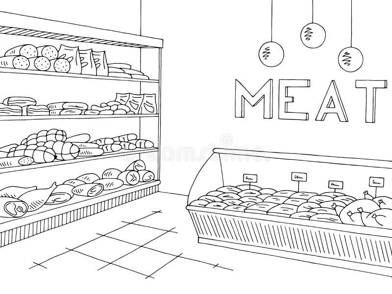 Skizzen-Illustrationsinnenvektor des grafischen Shops des Fleischspeichers schwarzer weißer lizenzfreie abbildung