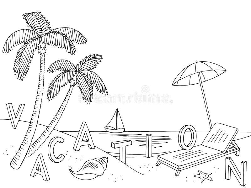 Skizzen-Illustrationsvektor des Seeküsten-Strandes grafischer schwarzer weißer Landschafts vektor abbildung