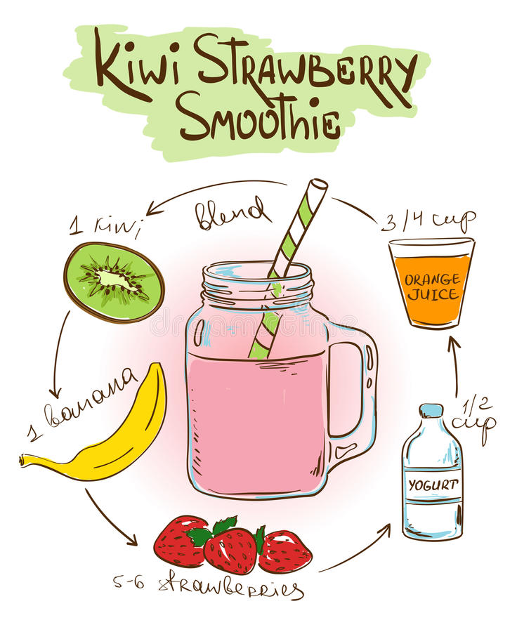Skizzen-Kiwi Strawberry-Smoothierezept lizenzfreie abbildung