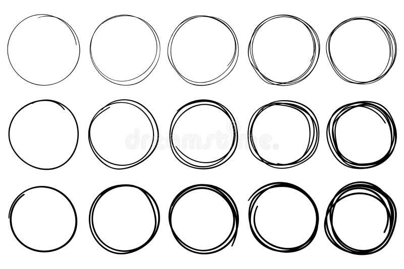 Skizzen-Kreise Kreisgekritzelrahmen, Handgezogener Stiftanschlagkreis und eingekreister Rahmen lokalisierter Vektorsatz lizenzfreie abbildung