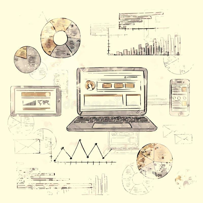 Skizzen-Laptop-intelligentes Telefon-Tablet-Finanzdiagramm alt stock abbildung