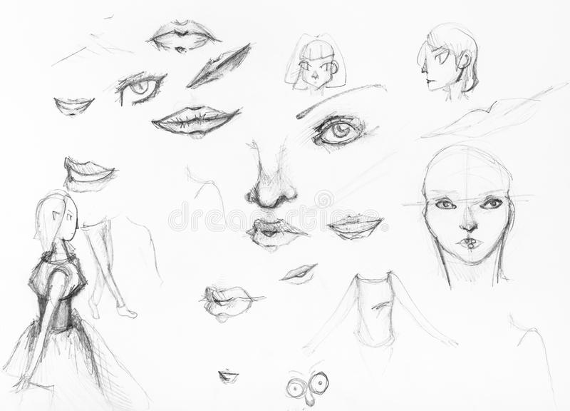 Skizzen von Mädchen und von Sonderkommando von Gesichtern durch Bleistift stock abbildung