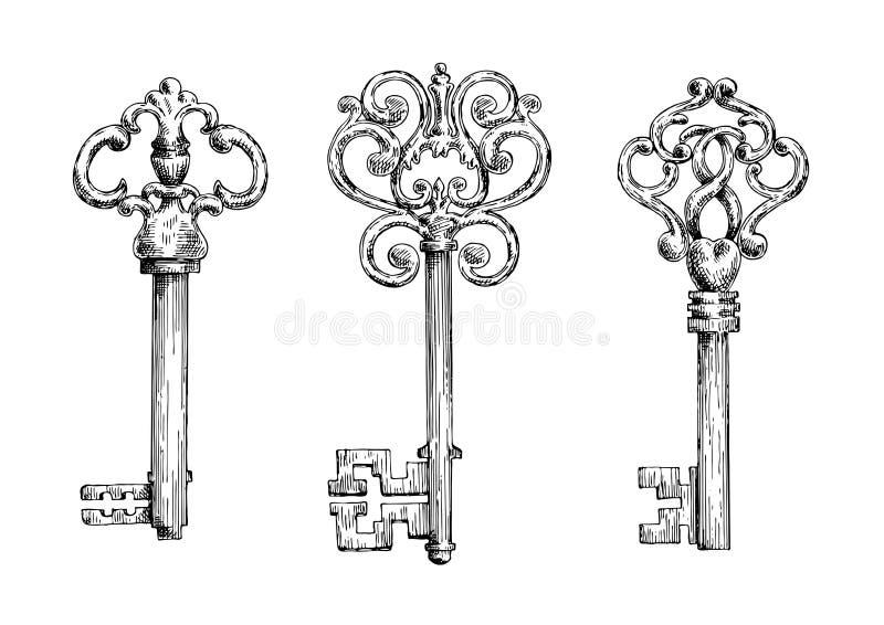 Skizzen von Weinleseschlüsseln mit geschmiedeten Elementen stock abbildung