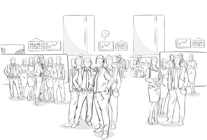 Skizzen-Wirtschaftler-Mengen-Büro-Innengeschäft Team Hand Drawn People vektor abbildung