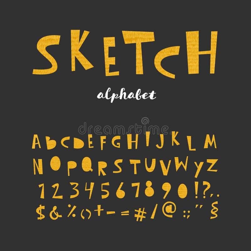 Skizzenalphabetbuchstaben stockbilder