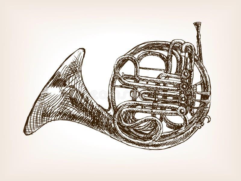 Skizzenartvektor des französischen Horns Hand gezeichneter vektor abbildung