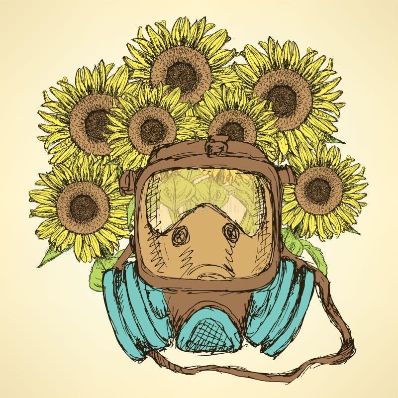 Skizzenatemmaske mit Sonnenblume vektor abbildung