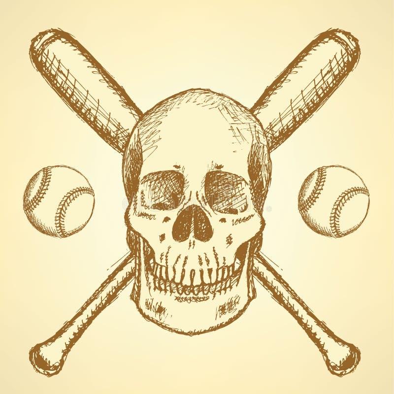 Skizzenbaseball Ball, Schläger und Scull stock abbildung