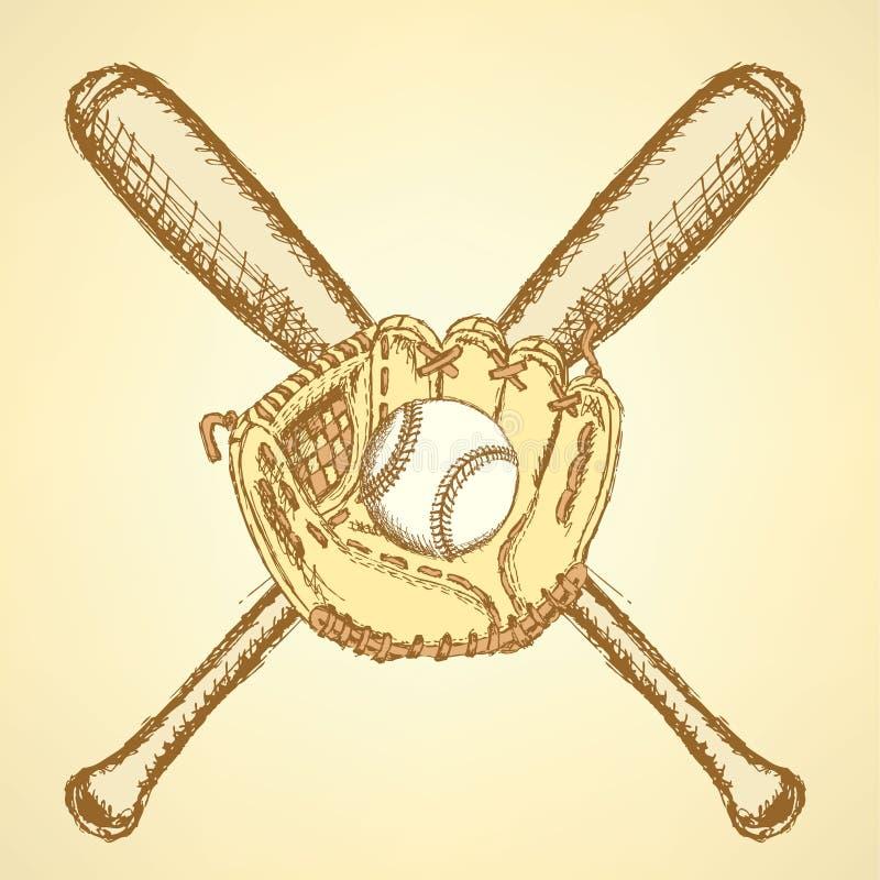 Skizzenbaseballball, -handschuh und -schläger vektor abbildung