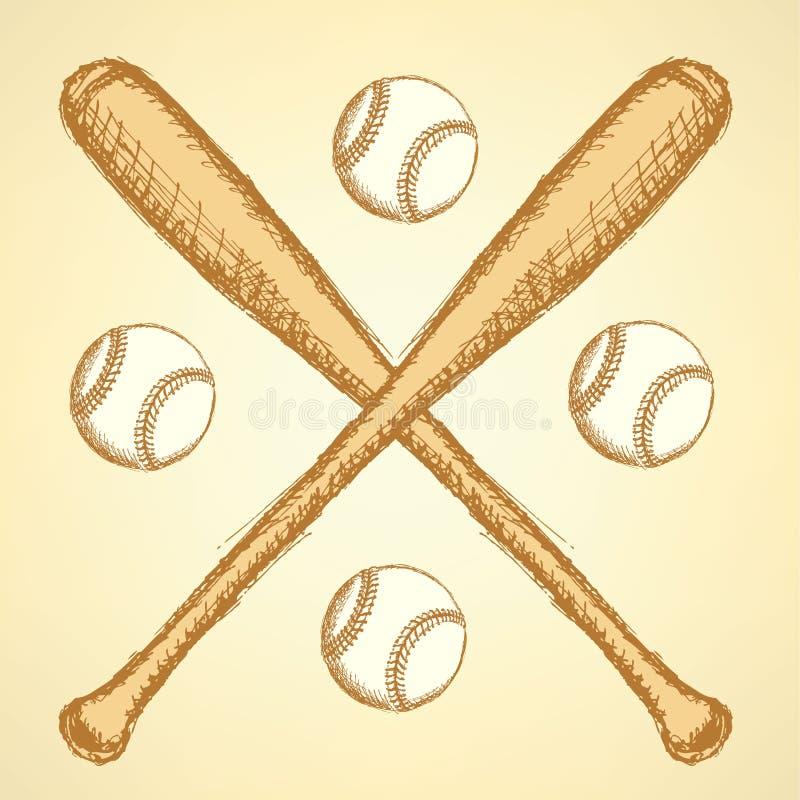 Skizzenbaseballball und batl, Hintergrund lizenzfreie abbildung