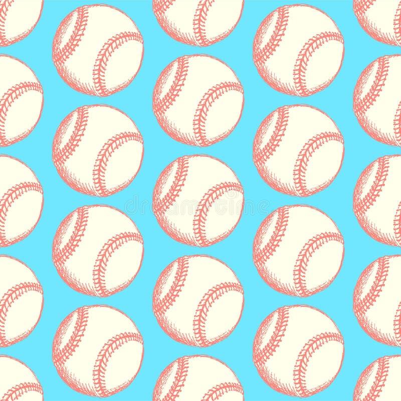 Skizzenbaseballball, vector nahtloses Muster vektor abbildung