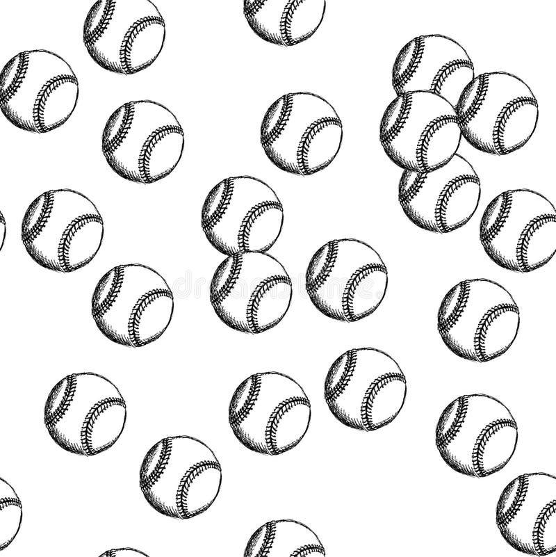 Skizzenbaseballball, vector nahtloses Muster lizenzfreie abbildung