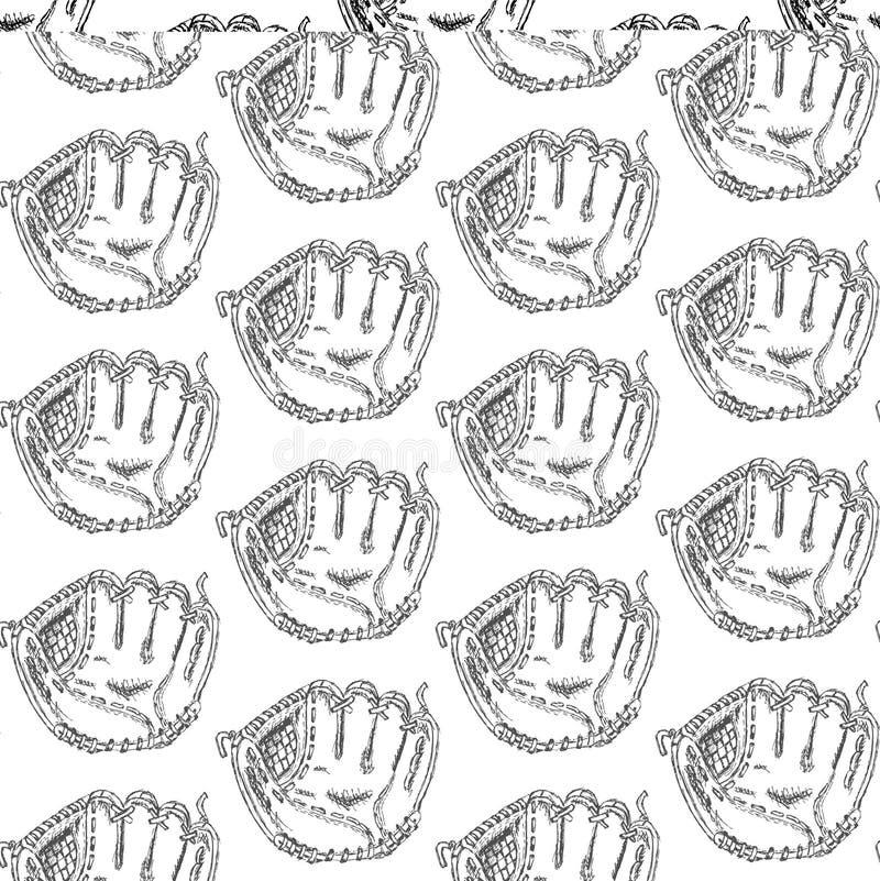 SkizzenBaseballhandschuh, nahtloses Muster der Weinlese lizenzfreie abbildung